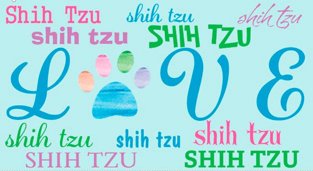 Shih Tzu Rectangular Magnet That Says Love & Shih Tzu in a Pattern