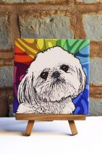 Shih Tzu Puppy Cut Tan Colorful Portrait Original Artwork on Ceramic Tile 4x4 Inches