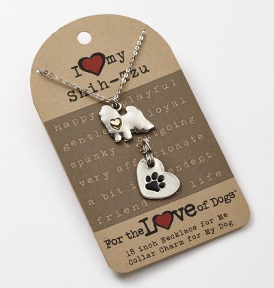 Shih Tzu Necklace & Collar Charm Set 16 Inches 1