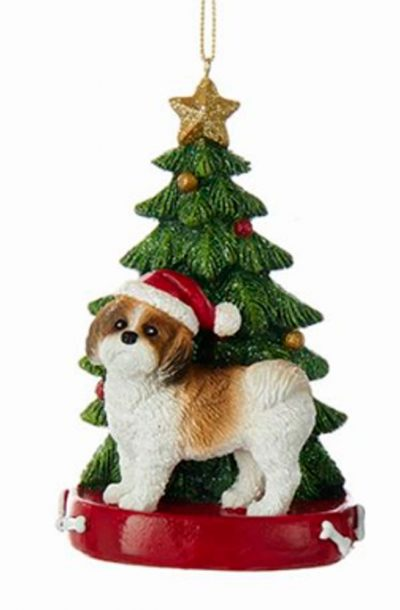 Shih Tzu Christmas Tree Ornament Tan 1