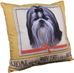 Shih Tzu Pillow 16x16 Polyester Black/White w/ Bow