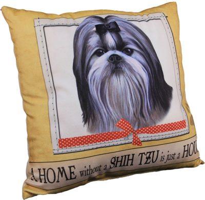Shih Tzu Pillow 16×16 Polyester Black/White w/ Bow 1