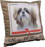 Shih Tzu Pillow 16x16 Polyester Tan/White Puppy Cut
