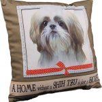 Shih Tzu Pillow 16×16 Polyester Tan/White Puppy Cut 1