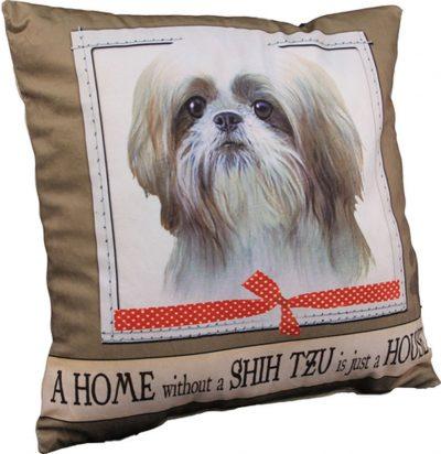 Shih Tzu Pillow 16x16 Polyester Tan/White Puppy Cut