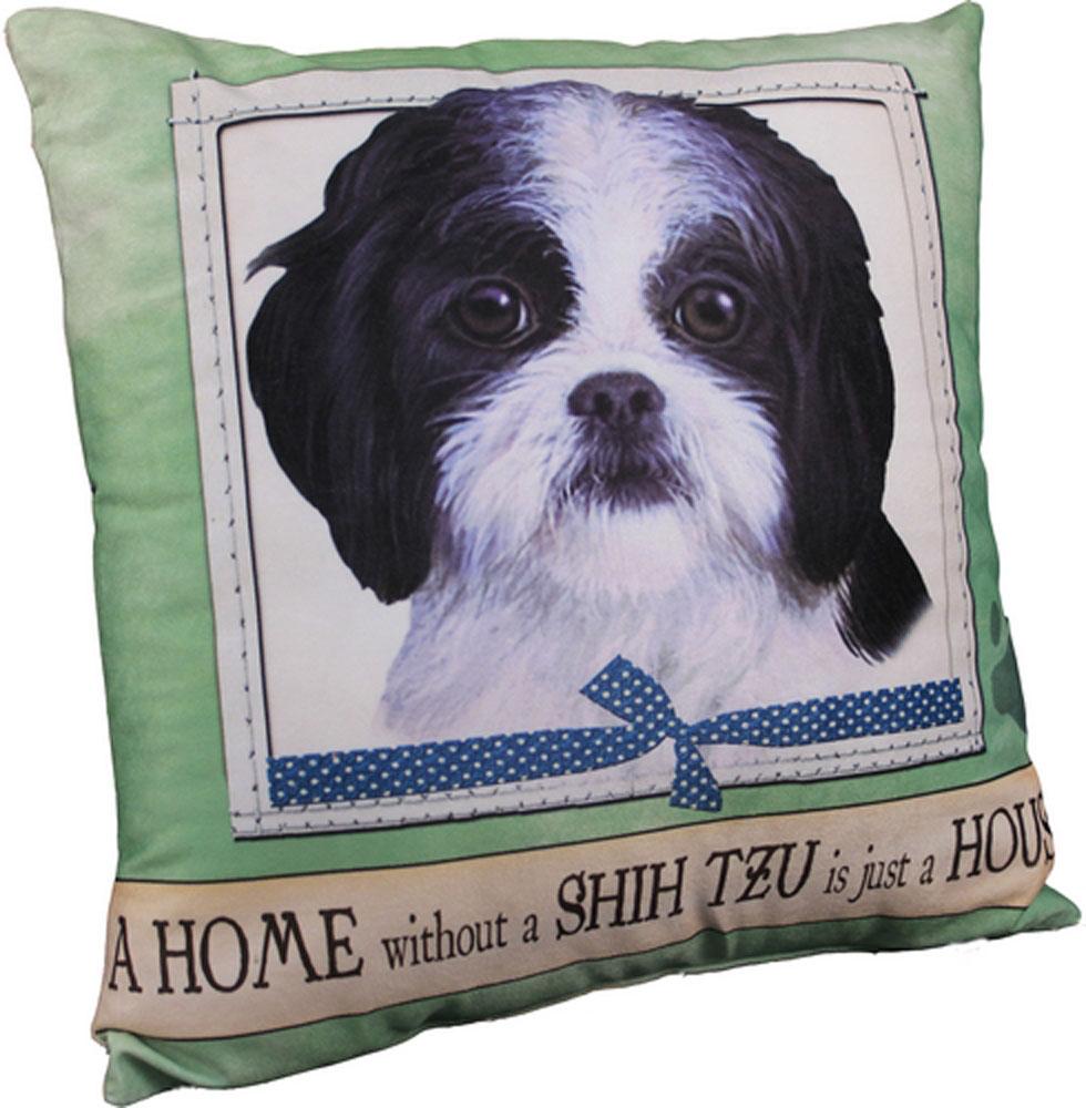 Shih Tzu Pillow 16x16 Polyester Black White Puppy Cut