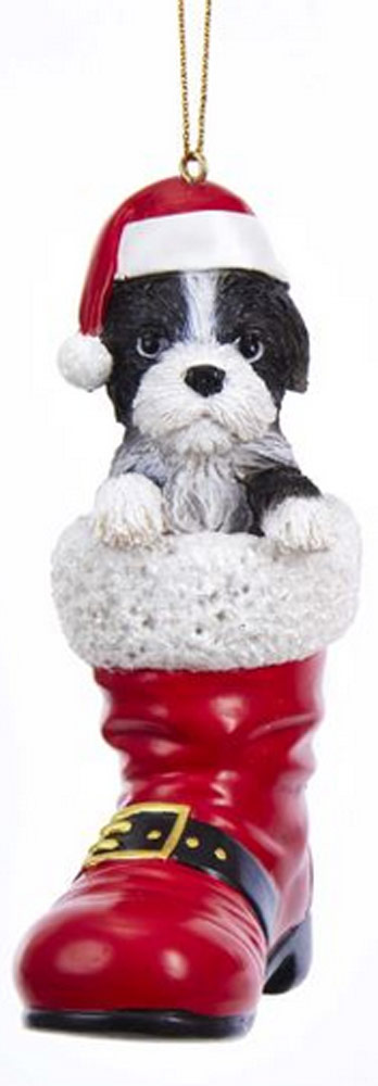 Shih Tzu Santa Boot Ornament Black