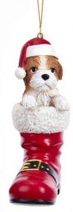Shih Tzu Santa Boot Ornament Brown
