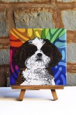 Shih Tzu Puppy Cut Brown/White Colorful Portrait Original Artwork on Ceramic Tile 4x4 Inches