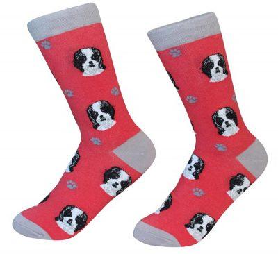 Shih Tzu Face Pattern Socks Black Puppy Cut