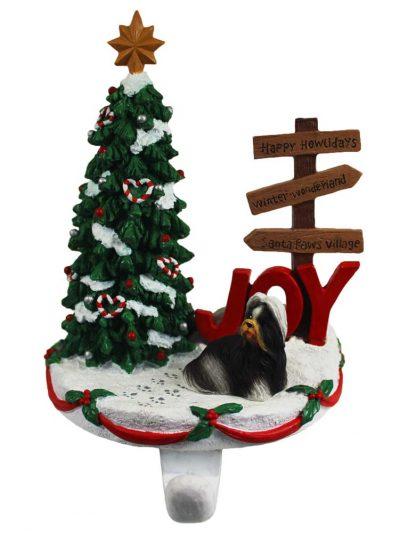 Shih Tzu Stocking Holder Hanger Black