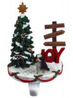 Shih Tzu Stocking Holder Hanger Black White Puppy Cut