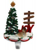 Shih Tzu Stocking Holder Hanger Brown