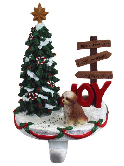 Shih Tzu Stocking Holder Hanger Tan Puppy Cut