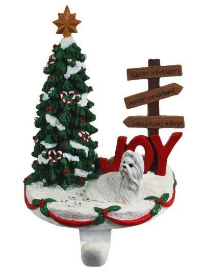 Shih Tzu Stocking Holder Hanger White