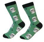Shih Tzu Face Pattern Socks Tan Puppy Cut