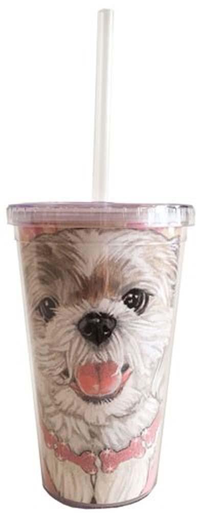 Shih Tzu Tumbler With Straw Puppy Cut