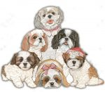 Shih Tzu Wooden Magnet Puppy Cut Family