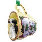 Shih Tzu Dog Christmas Holiday Teacup Ornament Figurine Blk/Wht Sport