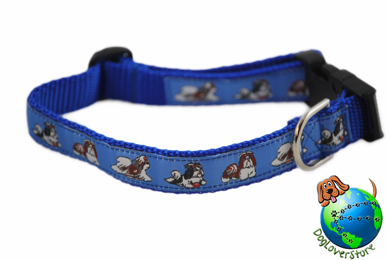 "Shih Tzu Dog Breed Adjustable Nylon Collar Medium 10-16"" Blue"