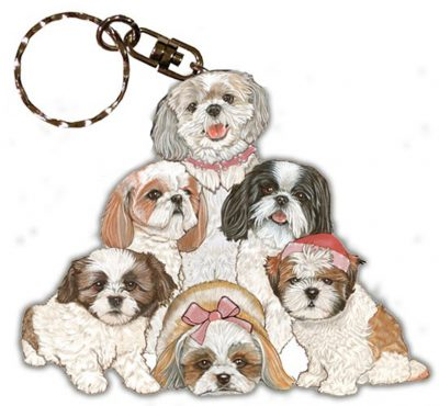 Shih Tzu Wooden Dog Breed Keychain Key Ring 1