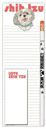 Shih Tzu Dog Notepads To Do List Pad Pencil Gift Set Puppy Cut