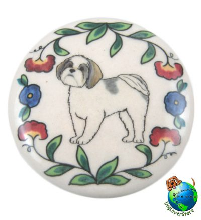 Shih Tzu Dog Wine Bottle Stopper Hand Painted Puppy Cut 1
