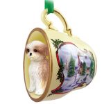 Shih Tzu Dog Christmas Holiday Teacup Ornament Figurine Tan Sport