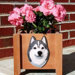 Siberian Husky Planter Flower Pot Grey White 1