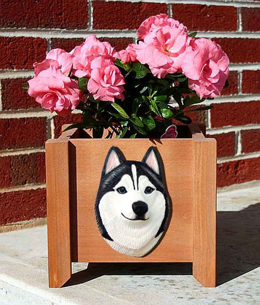 Siberian Husky Planter Flower Pot Black White