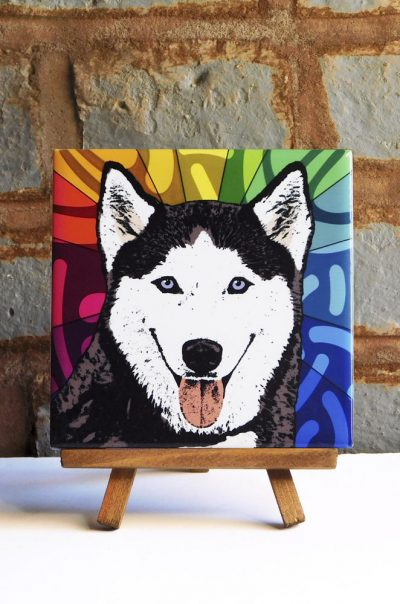 Siberian Husky Black/White Blue Eye Colorful Portrait Original Artwork on Ceramic Tile 4x4 Inches