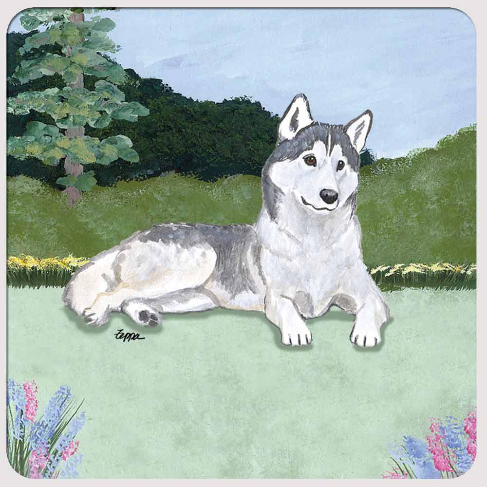 Siberian Husky Yard Scene Coasters Set of 4