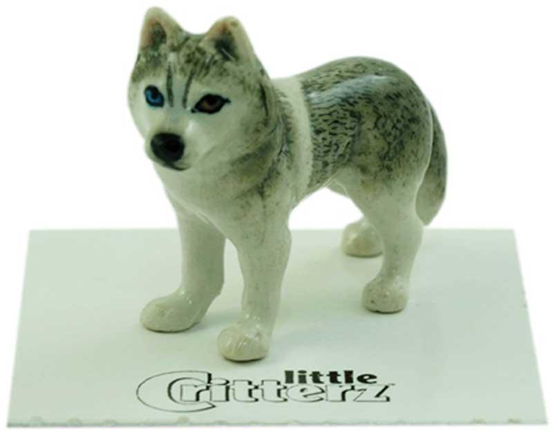 Husky Hand Painted Porcelain Miniature Figurine Gray