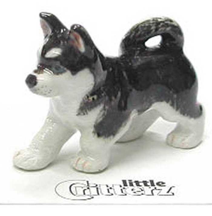 Husky Hand Painted Porcelain Miniature Figurine