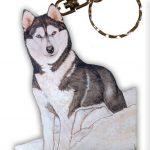 Husky Wooden Dog Breed Keychain Key Ring 1
