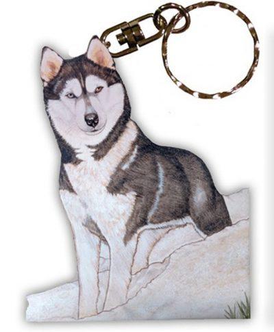 Husky Wooden Dog Breed Keychain Key Ring