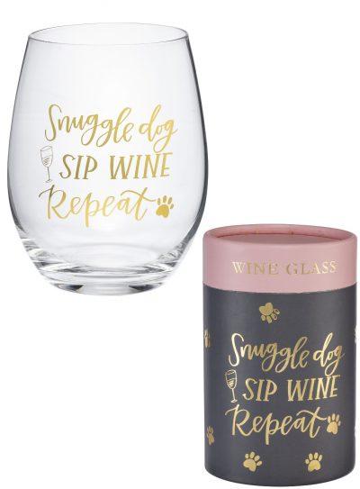 Snuggle Dog Wine Glass and Box