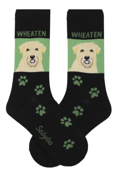 Soft Coated Wheaten Terrier Socks - Green & Black in Color