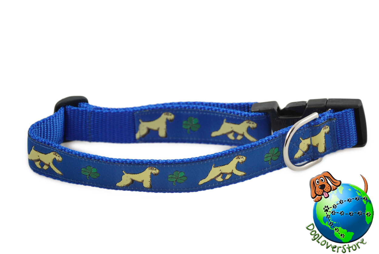 "Soft Coated Wheaten Dog Breed Adjustable Nylon Collar Large 12-20"" Blue"