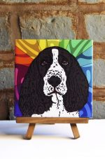 Spinger Spaniel Black/White Colorful Portrait Original Artwork on Ceramic Tile 4x4 Inches