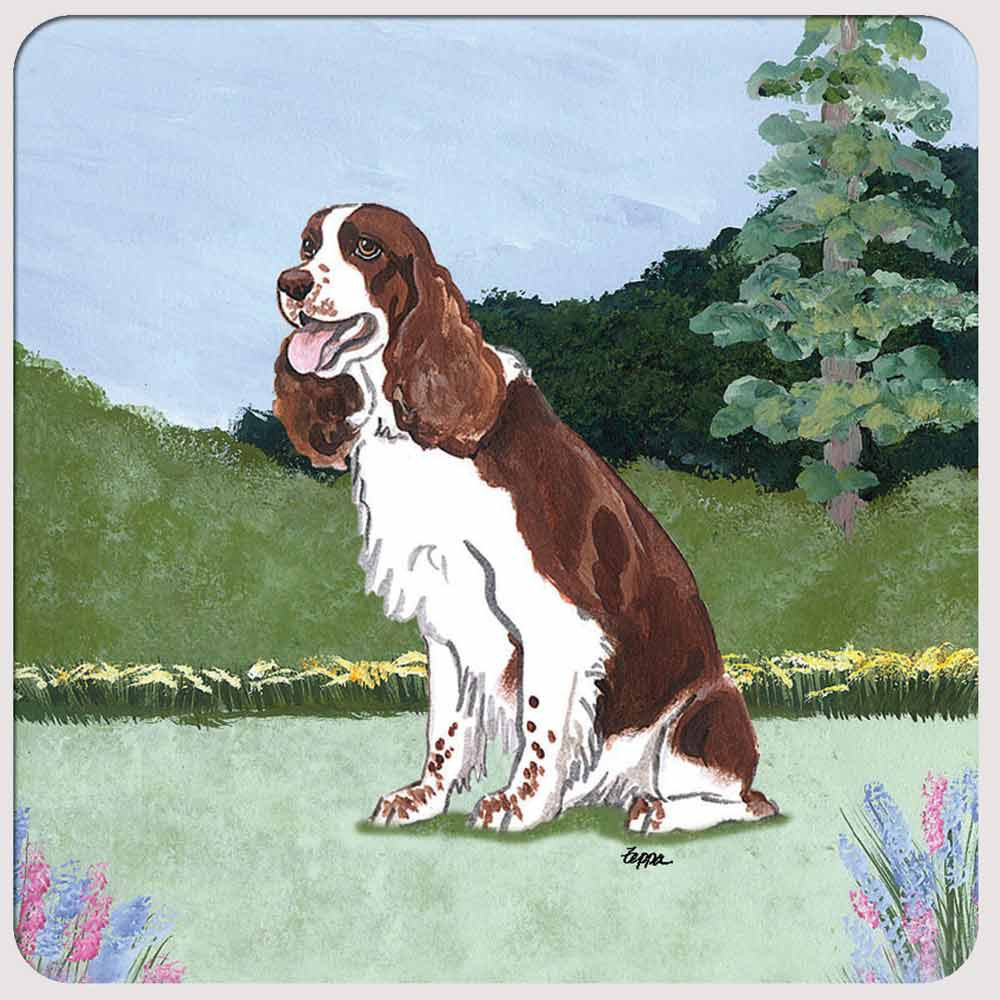 Springer Spaniel Yard Scene Coasters Set of 4 Brown