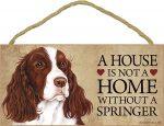 Springer Spaniel Wood Dog Sign Wall Plaque 5 x 10 + Bonus Coaster