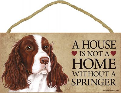 Springer Spaniel Wood Dog Sign Wall Plaque 5 x 10 + Bonus Coaster 1