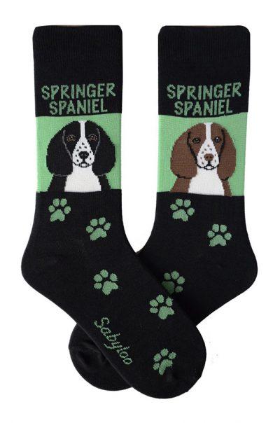 Springer Spaniel Socks on Green Background