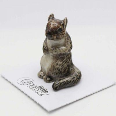 Squirrel Porcelain Figurine Gray