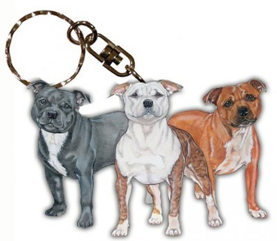 Staffordshire Bull Terrier Wooden Dog Breed Keychain Key Ring 1