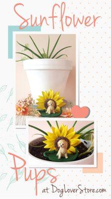 Sunflower Dog Figurine in Home Decor