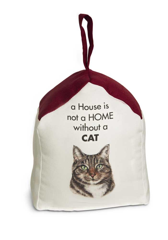 Tabby cat door stopper 5 x 6 in 2 lbs a house is not a home - Cat door stoppers ...