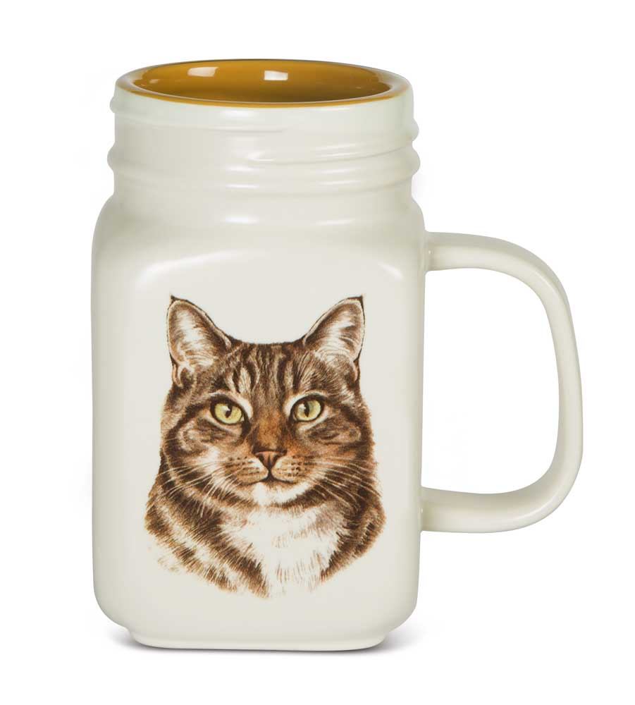 Tabby Cat 21 Oz. Ceramic Mug Mason Jar - All You Need Is Love