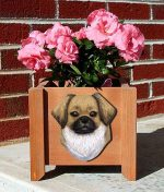 Tibetan Spaniel Planter Flower Pot Fawn